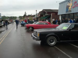 Downtown Grand Marais was really busy on Saturday, June 8 during the Grand Marais Classic Car Show. The rainy day didn't keep the beautiful cars or admirers away.