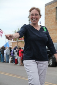 One of the fun things Girl Scout leaders get to do is take part in parades with the girls!