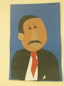I was delighted when I visited Sawtooth Mountain Elementary this week to see the portraits of Dr. King on the wall. This one was made by my grandson Carter.