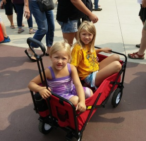 Two of my three granddaughters waiting for the parade that never came. The little red wagon was a lifesaver with all the walking at the Fair!